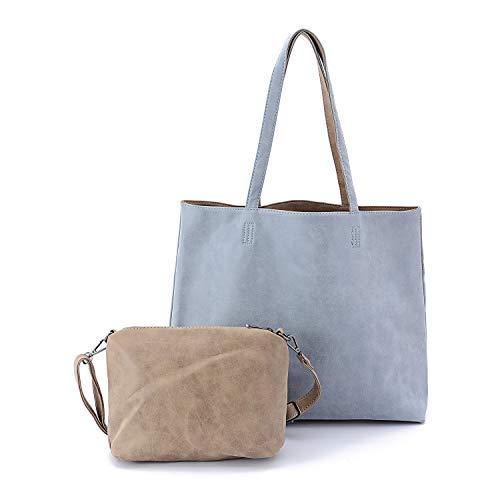 Women Tote Bag Reversible Hobo Shoulder Handbag Top Handle Purse Set PU Leather 2 Pieces (Light Blue)