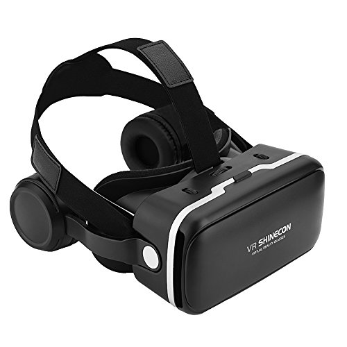 Denash VR Headset Virtual Reality Headset 3D VR Brille, für VR SHINECON Virtual Reality 3D VR Brille mit Kopfhörer für 3.5