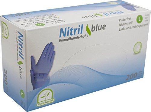 Medi-Inn Nitrilhandschuhe 200 Stück blau, Einweghandschuhe, Einmalhandschuhe, Untersuchungshandschuhe, Nitril Handschuhe, puderfrei, latexfrei (1 Box L, blau)