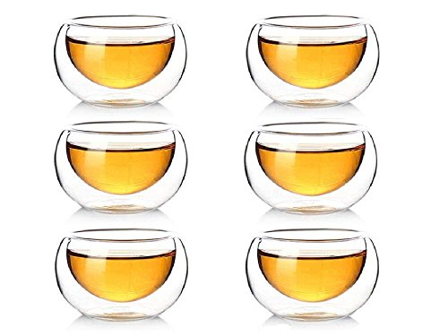 50ml Double Walled Glasses Transparent Heat Resistant Cups for Tea Coffee - Set of 6