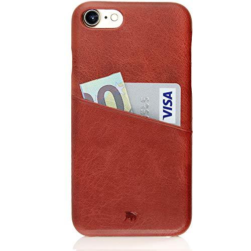 BULLAZO Menor Urban, hochwertige Handyhülle, Hülle, Backcover Leder mit Kartenfach, Kompatibel Apple iPhone SE 2020, 7 & 8 in Korallenrot