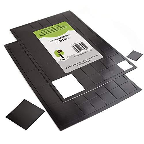 OfficeTree 110 Piastrine Magnetiche Autoadesive - 100 pezzi 20x20mm, 10 pezzi 40x40mm – autoadesive per un'applicazione duratura di foto e poster - nero