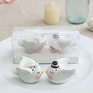 1 Set Blissful Wedding Salt & Pepper, Bride and Groom Mini Ceramic Shakers & Cake Topper by OnePLace Gifts