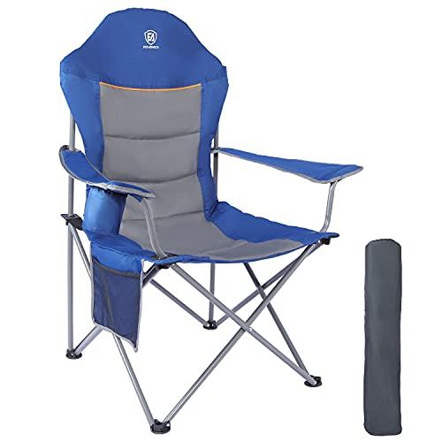 EVER ADVANCED Sedia da Campeggio Pieghevole Oversize Imbottita con Braccioli Struttura in Acciaio Schienale Alto con Portabicchieri e Borsa Laterale Capacità di Carico 136 kg Blu