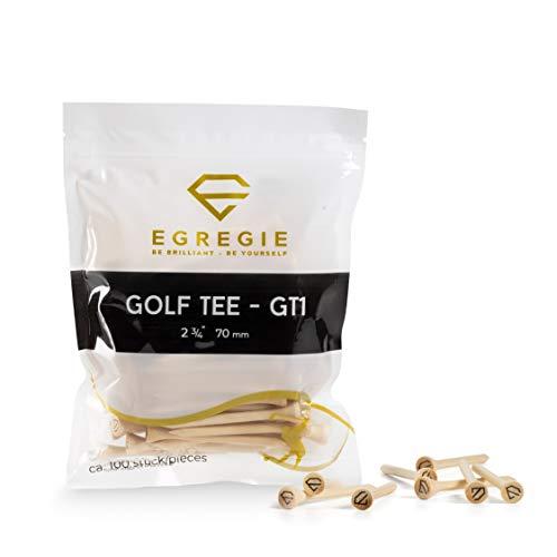 Egregie Golf Tees - 100 Stück 70mm - perfektes Bambus Golftee für Deinen sauberen Abschlag mit dem Golf Driver