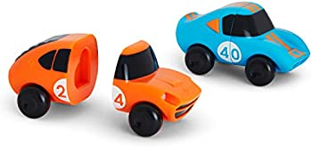 2-Pack Munchkin Mix and Match Cars Toddler Bath Toy (Blue/Orange)