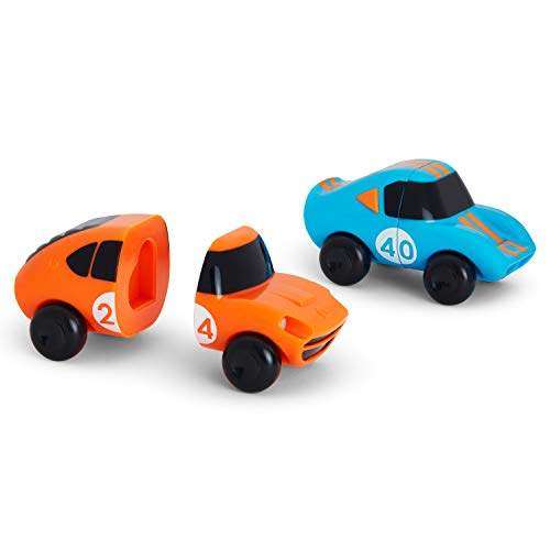 Munchkin Mix and Match Cars Toddler Bath Toy, 2 Pack, Blue/Orange