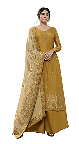 DRAVINAM Trends Women's Pure Dola Meenakari Banarasi Jacquard Hand work Pakistani Chudidar Dress Material with Pure Georgette Heavy Embroidered Dupatta (Yellow and Golden Beige)