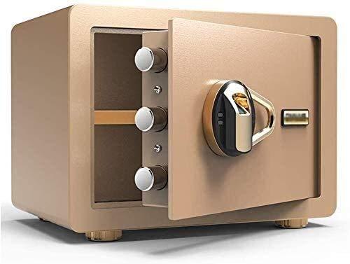 Caja Fuerte para el hogar, Cajas de Bloqueo Seguro Caja de Seguridad Digital electrónica, Huella Dactilar biométrica Hogar de Acero Seguro para Office Hotel Cash 35 x 25 x 25 cm (Color : Gold)