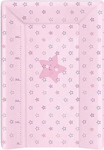 BabyCalin BBC510714 Luxus Wickelunterlage, 50cm x 70cm, Rosa Sterne mit Höhenstange, rosa, 1 Stück