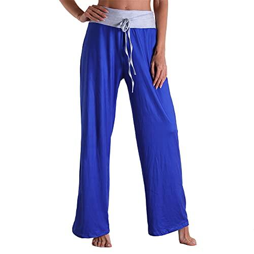 ZEEZI Pantalones de harén con cordón medio simple para mujer color sólido cómodo elástico pantalones de pierna ancha, azul, XXL