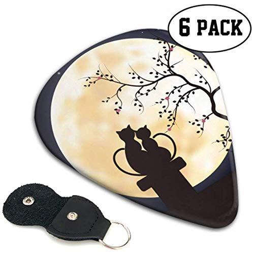 Sweet Romantic Cats And The Moon Púas de guitarra personalizadas Guitar Pick...