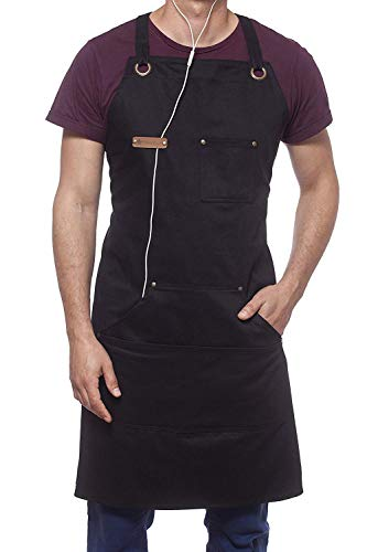Professional Cooking Apron Chef Kitchen BBQ Grill Woodworking / 10 OZ Black Cotton for Women and Men Bib Adjustable/Towel Loop + Quick Release Buckle + Tool Pockets + Headphones Loop