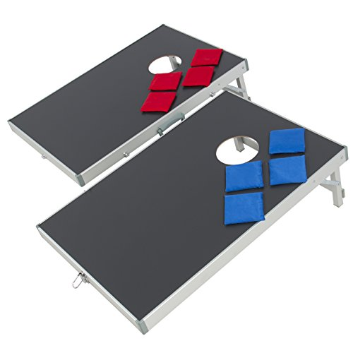 Best Choice Products Portable Aluminum Cornhole Bean Bag Toss Game Set w/ Carrying Case - Black