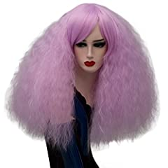 Fluffy full synthetic fiber wig, soft touch. Short curly cosplay wig, length approx 40cm (16 inch), weight approx 215g, it is thick that the wig net won't expose. Light Purple cosplay wigs, beautiful, make you the focus of the party Wig cap size is a...