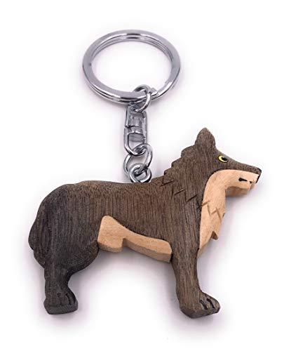 H-Customs Wolf Tier Raubtier Hund Holz Edel Handmade Schlüsselanhänger Anhänger