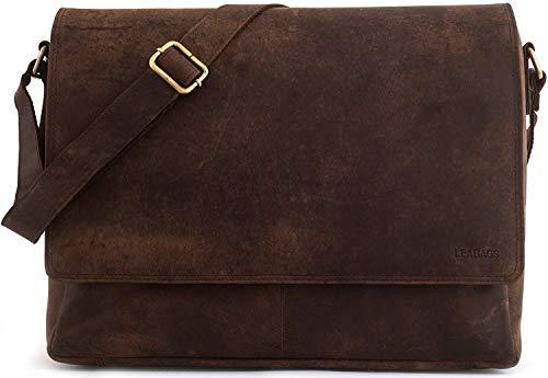 Preisvergleich Produktbild LEABAGS Oxford Umhängetasche Laptoptasche 15 Zoll aus Leder im Vintage Look,  Maße (BxHxT): ca. 38x31x10 cm,  Braun Like Muskat