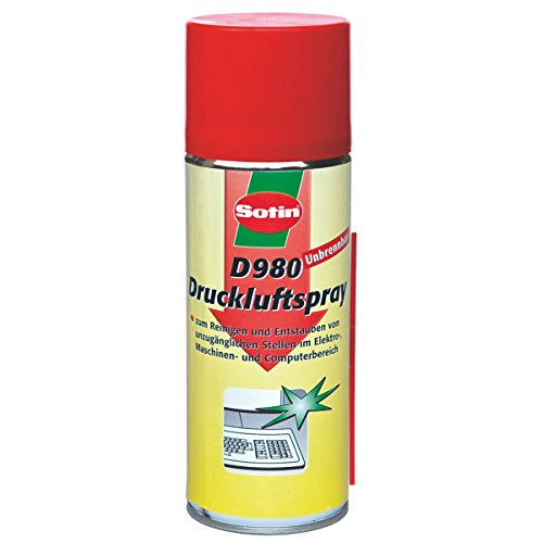 Preisvergleich Produktbild Sotin Druckluftreiniger D980 unbrennbar - Druckluftspray 400ml Dose - besonders hoher Druck / D98