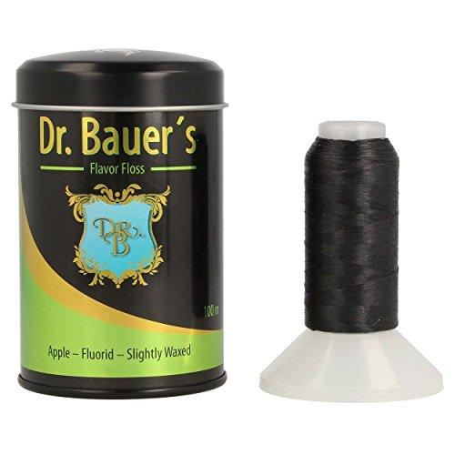 Dr. Bauers Premium Zahnseide 100m in stylischer schwarzer Metalldose mit Deckel, nachfüllbar, schwarze Zahnseide mit Apfel Geschmack - mit Fluorid - leicht gewachst