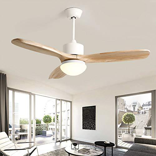 Vinmin , Montaggio a Filo Ventilatore a soffitto, Concetto Tradizionale LED Montaggio a Filo, Pale del Ventilatore 3-Legno Telecomando Reversibile Ferro, Legno e Vetro di Colore 42inches Doppio
