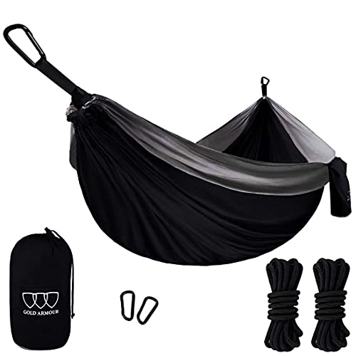 Gold Armour Camping Hammock, Double & Single Parachute Hammock with Ropes, USA Brand Lightweight Portable Mens Womens Kids, Camping Accessories Gear (Black and Gray, 2 Person)