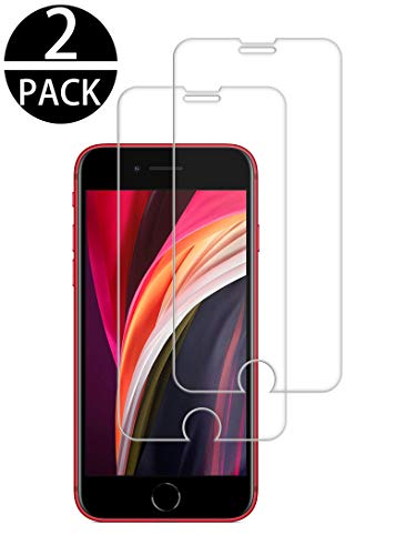 TECHKUN (2 Stück Panzerglas Schutzfolie für iPhone SE 2020, iPhone 8/ iPhone 7, iPhone SE 2020/8/7/6/6s Displayschutzfolie