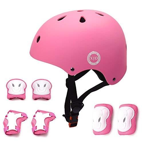 XJD Casco de Ciclismo para Niños y Protecciónes Infantiles Incluye Rodilleras, Coderas y Muñequeras con Certificación CE,Adjustables 7 Piezas para Patínes Patinete Ciclismo Niños de 3 a 8 Años(Rosa S)
