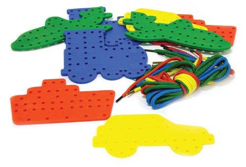 Play & Discover kinderspeelgoed met veters, 16 vormen in totaal (4 x boot, boot, vliegtuig, trein), incl. 16 veters
