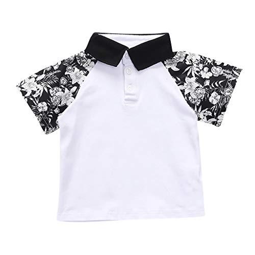Anglewolf Jungen Poloshirt kurzes Hülsen T-Shirt Polo-Hemden Sommer Revers Kragen Nähen Bluse Tops Shirt 2-8 Jahre(Weiß,120)