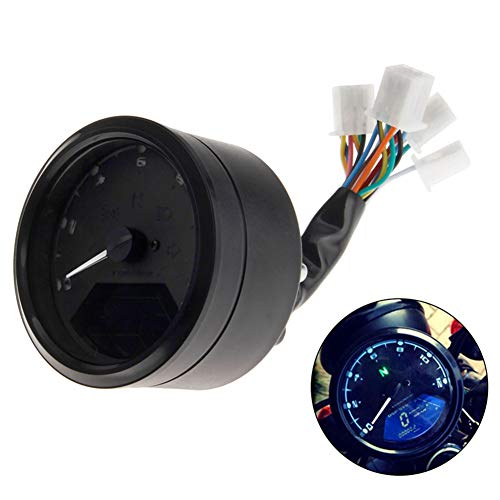 Lanceasy Odómetro Moto, LCD Digital Velocímetro De La Motocicleta Universal del Odómetro Moto Tacómetro Retroiluminado mph
