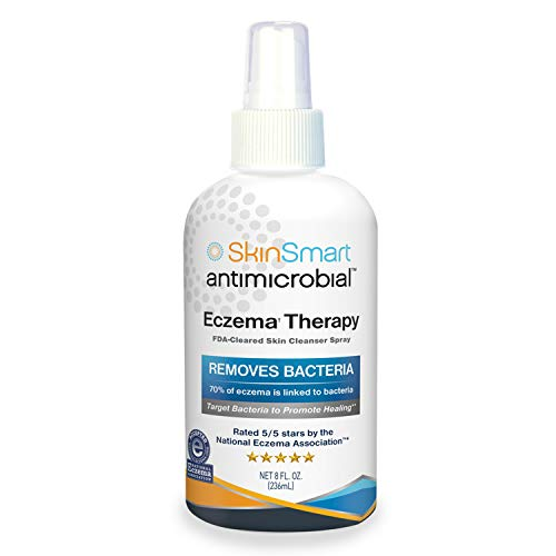 SkinSmart Eczema Therapy Removes Bacteria so Skin Can Heal, 8 Ounce Clear Spray and Safe for Babies, Kids, Adults and Seniors