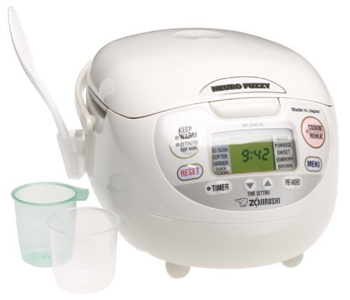 Zojirushi NS-ZCC10 5-1/2-Cup (Uncooked) Neuro Fuzzy Rice Cooker and Warmer, Premium White, 1.0-Liter (Renewed)
