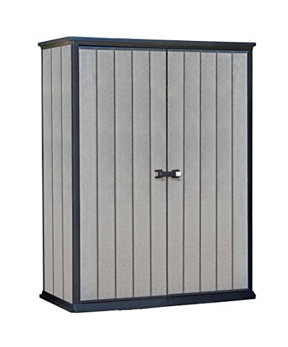 An image of the Keter High Store Outdoor Plastic Garden Storage Shed, Grey, 140 x 77 x 181.5 cm / 1500 L