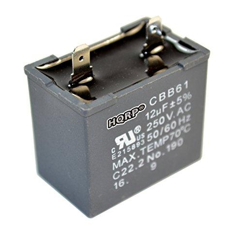 HQRP 12uf Refrigerator Capacitor compatible with GE WR62X79 JSU21X126 JSU21X126AOC JSU21X126AQC Replacement BCS42CKB CTH14CYXRLAD CTT21GAXLRWW CTX16CIZDLAD DTS18ICRFRWW ESS25KSTFSS FCM5DMCWH UL Listed