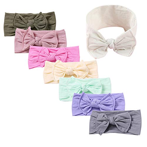 Baby Girl Nylon Headbands Newborn Infant Toddler Hairbands and Bows Child Hair Accessories (MB01-8pcs)