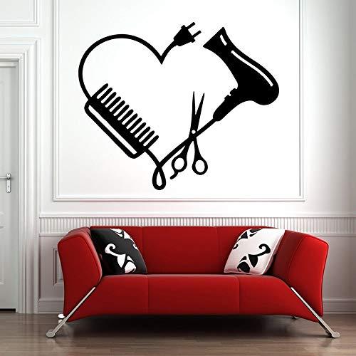Pegatinas de pared para ventana de peluquería, herramientas de peluquería, tijeras, calcomanías de peluquería, pegatinas de vinilo A9 50X42CM