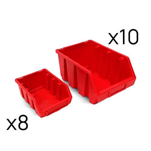 Juego de 18 gavetas cajas apilables plástico tamaño 2 y 3 (Red)
