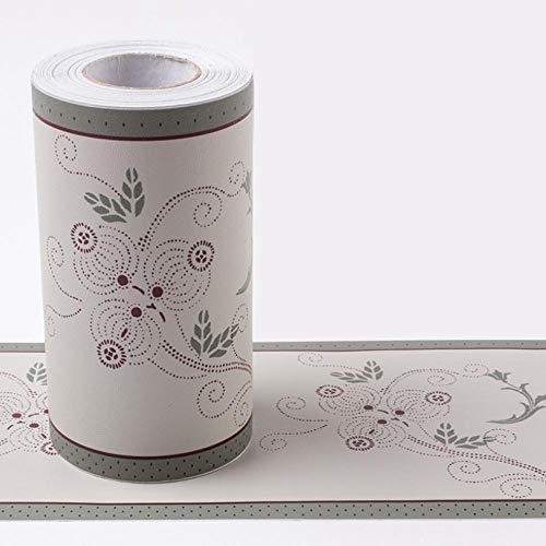 Borde de papel pintado resistentes al agua Flor de farol gris Cenefa autoadhesiva para decoración para la decoración del baño de la cocina 10CMX1000CM