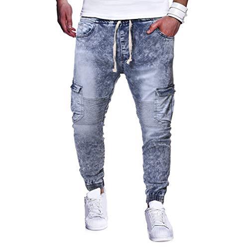 AmyGline Hose Herren Jeanshose Vintage Disstressed Waschen Denim Hose Stretch Slim Fit Jeans Sporthose Jogginghose