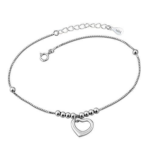 Korliya 925 Sterling Silver Indian Heart Love Adjustable beaded Ankle Bracelets Anklet For Women