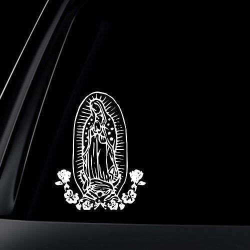 World Design Virgin Mary w/Flower Car Decal/Sticker