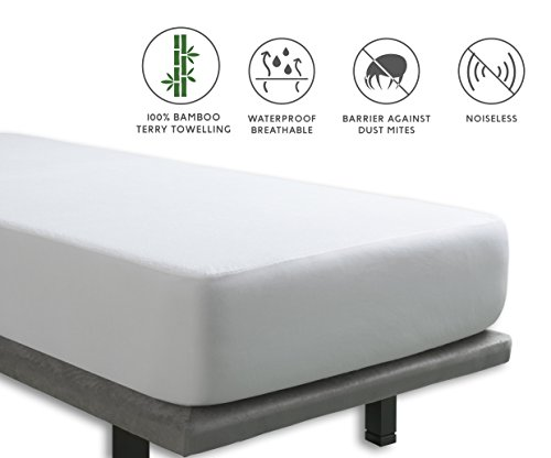Tural – Protector de colchón Impermeable y Transpirable. Rizo 100{f881c6b0585cbf76ce97fb067056cd213b06f1bbfadd759073a5f26d970a211f} Bambú. Talla 150x200cm