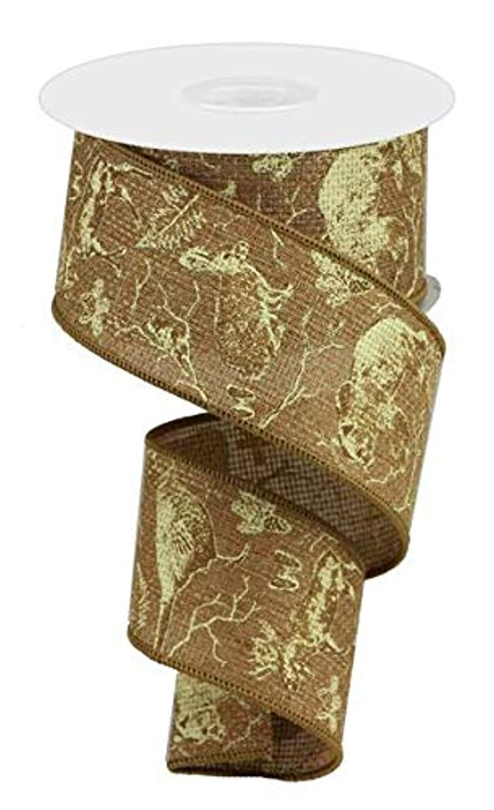 Woodland Animals on Cross Royal Wired Edge Ribbon, 10 Yards (Caramel, Ivory, Brown, 2.5