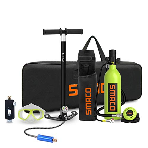 SMACO Scuba Tank Diving Gear for Diver Mini Scuba Tank Oxygen Cylinder with 15-20 Minutes Capability Diving Oxygen Underwater Breathing Device 1L Diving & Snorkeling Equipment