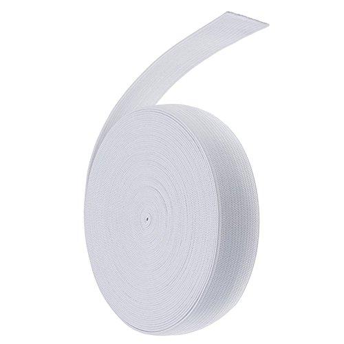 1 longue bande de couture élastique Toruiwa - Plate - Accessoire de bricolage et d'artisanat - 13,7 m de long et 1,5 cm de large - Blanc