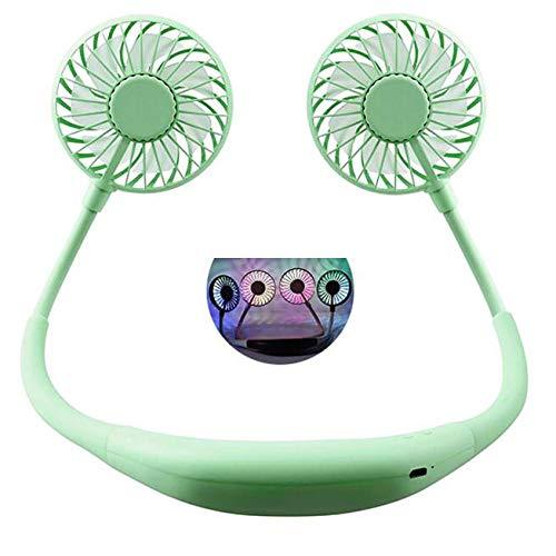 Draagbare USB-ventilator, stil, vrije handen, led, oplaadbaar, draagbaar voor het ophangen aan de hals, ventilator voor de tafel, dubbele wind, 3 snelheden, voor buiten en op kantoor. Led Aroma Green