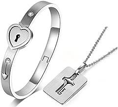 New Silver Stainless Steel Bracelet for Couples Love Heart Lock Bangle Key Pendants Necklace