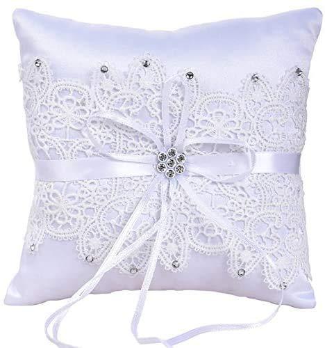 Jilibaba Anillo de boda portador almohada francesa pestaña encaje decoración cojín anillo portador almohada para anillo de boda