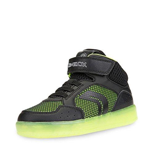 Geox J KOMMODOR Boy C Hohe Sneaker, Schwarz (Black/Lime), 38 EU