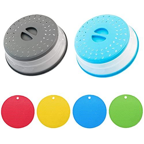2 Piezas Tapa Microondas Plegable, Tapa Antisalpicaduras Microondas con Orificios Para Vapor, Colador Plegable Para Microondas Para Lavar la Cesta de Drenaje de Frutas y Verduras, sin BPA